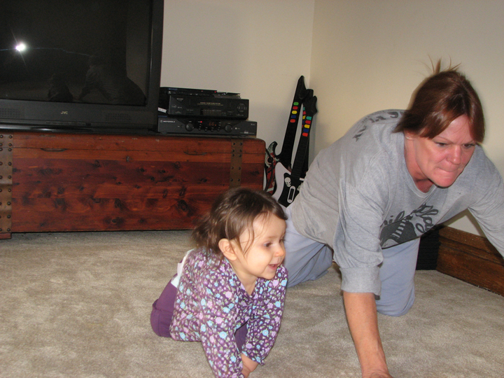 Grandma M and Kara crawling 10-08