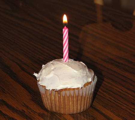 Kara's cupcake and candle