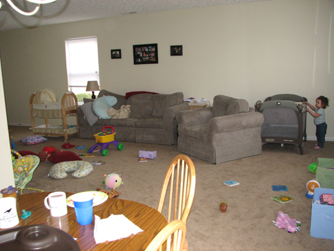 Living room five weeks postpartum