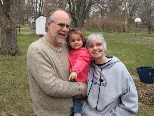 Kara Grandma and Grandpa D outside