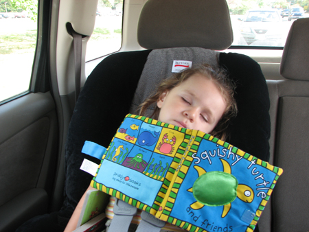 Kara car seat asleep
