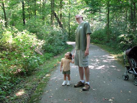 Daddy Kara looking up trees