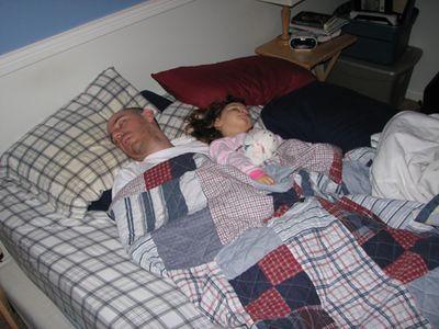 Kara 22 months sleeping with Daddy