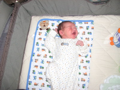 Nathan month 1 bassinet crying