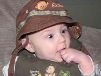 Nathan month 5 monkey hat