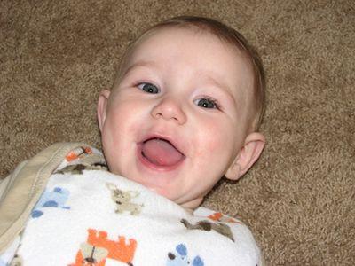 Nathan smiling - month 7