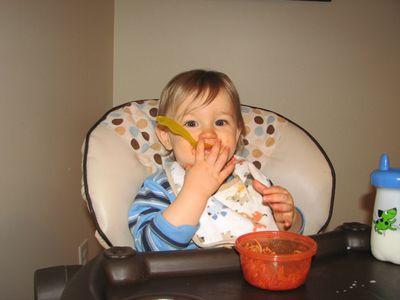 Nathan 13 months spaghetti