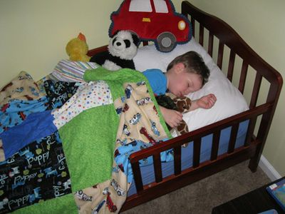 Big boy bed asleep staged