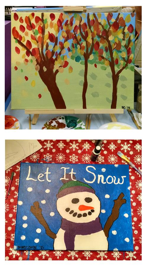 From leaves to snowman